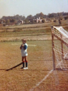In the net my first season. I think I was praying that they wouldn't score!